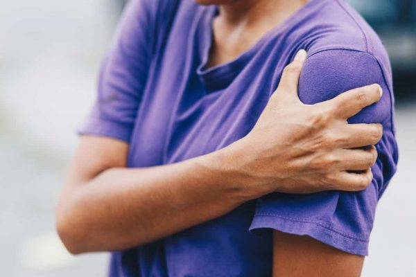 Young woman pain left shoulder, Ache in human body, office syndrome, health care concept